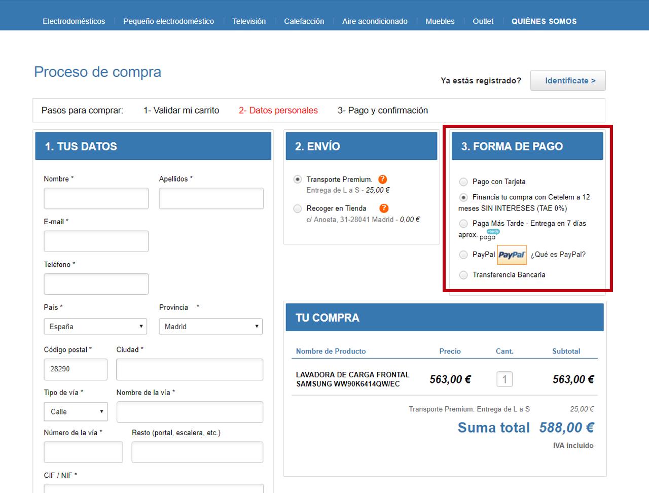 ... La Cantidad De Meses A Financiar La Elegirá Una Vez Esté Dentro De La  Plataforma De Cetelem Y Se Le Mostrará La Cuota Mensual Final A Pagar.