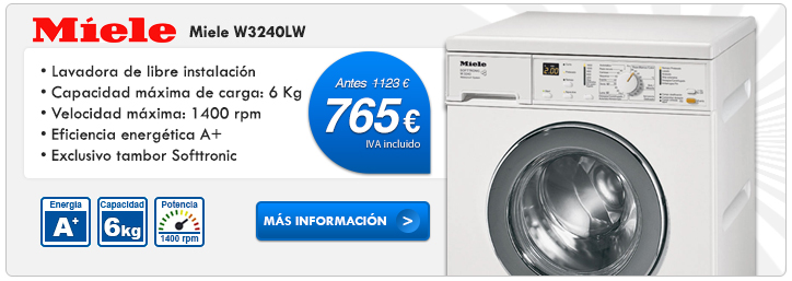 Lavadora de libre instalación Miele W3240LW